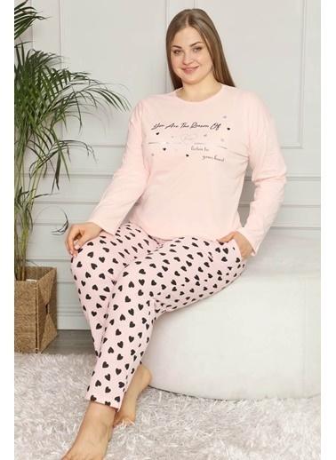 Pemilo Kadın 30104-4 Kalp Desenli Büyük Beden Uzun Kollu Pijama Takımı SOMON Somon